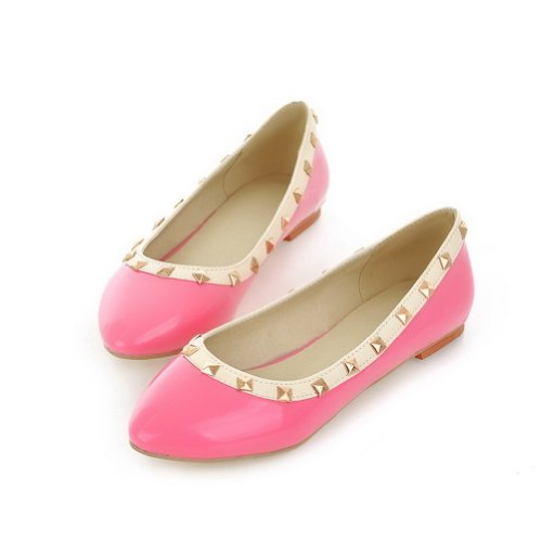 Women's WeenFashion Patent 8 Leather M Rivet whith Flats Closed PU Round Pink B Solid Toe US aCdUqC