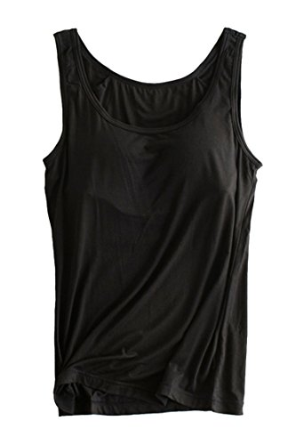 PinkWind Women's Essential Tank Top, Scoop Neck Basic Casual Camisole Active Workout Stretch Camisole Tanks with Built in Bra Padded Cami for Women