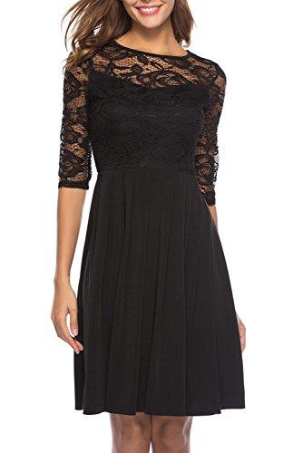 Pleats Vintage Little Black Dress - Berydress Women's Fit and Flare Swing Dress Sexy Illusion Lace Top Black Short Bridesmaid Party Dress (M, 6072-black)