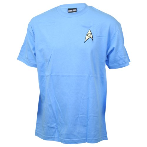 Original Star Trek Womens Uniform (Star Trek (The Original Series) Science Blue Uniform Adult T-Shirt,)
