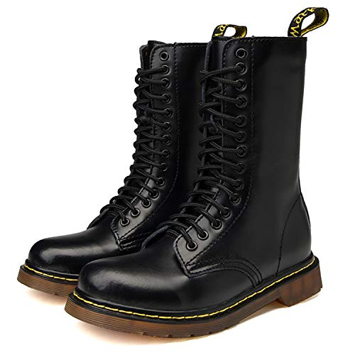 Donna Stivali inverno Basse Neve Pelliccia Autunno Uomo Smooth Nero Pelle Boots Stringate Caviglia Militare Tqgold UBW5wx4tnq