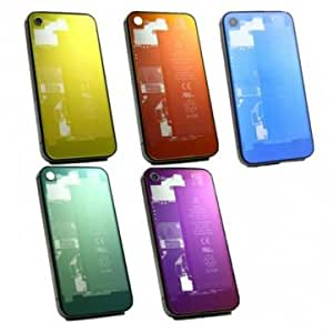 Clear Chrome Plated Glass Back Battery Case Replacement For iPhone 4S --- Color:Green -Big Paw Trading