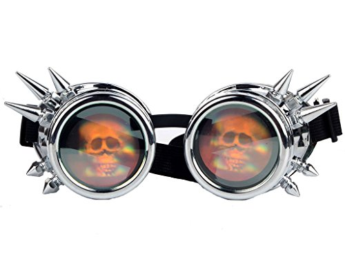 Kaleidoscope Steampunk Rave Glasses Goggles with Rainbow Crystal Glass Lens 4