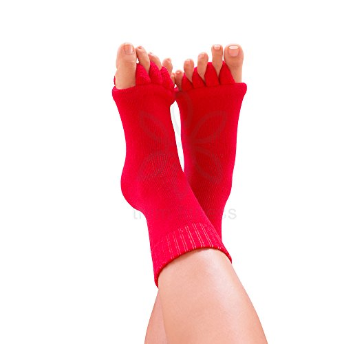 Toe Separator Yoga Gym Sports Massage Socks for Foot Alignment, Great for Sore Feet and Diabetics by TRiiM Fitness with FREE Exercise guide! (Red)