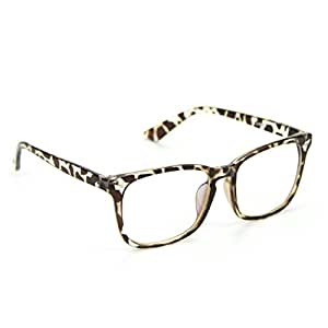 Cyxus Blue Light Filter [Transparent Lens] Glasses, Better Sleep Anti Eyestrain Headache (Leopard Print Frame)