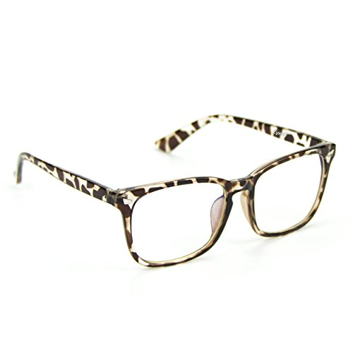 Cyxus Blue Light Filter [Transparent Lens] Glasses, Better Sleep Anti Eyestrain Headache (Leopard Print - Blue Lenses