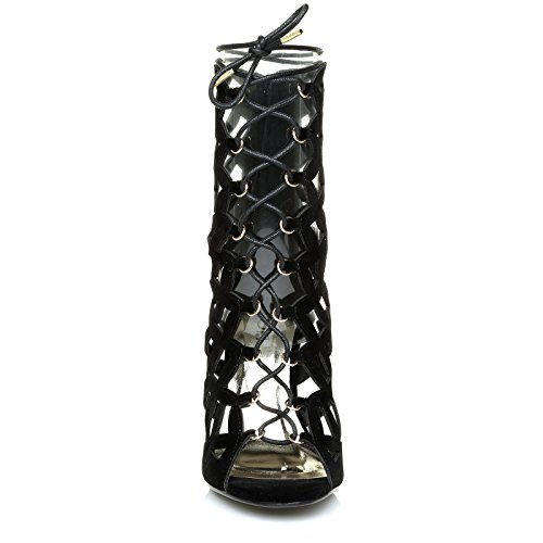 ShuWish UK Jolie Black Suede Caged High Heel Lace up Ghillie Peep Toe Gladiator Sandals IxdPq8mf