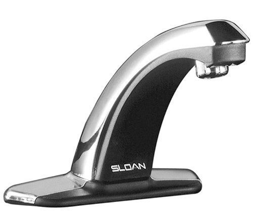 Splash Faucet Mount Sensor (Sloan Valve EBF-85-4 Optima Plus Battery Powered Sensor Activated Electronic Hand Washing Faucet with Trim Plate for 4-Inch Centerset Sink, Chrome)