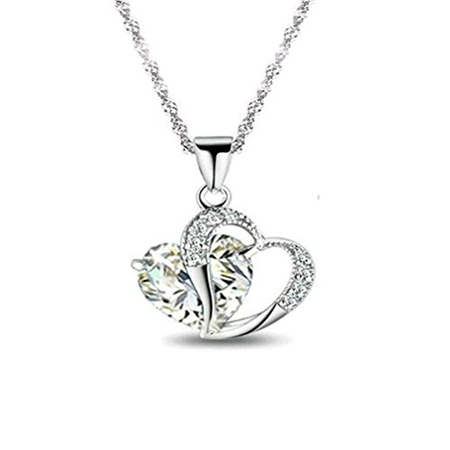 DARLING HER Sell Like Hot Cakes Top Class Lady Fashion Heart Pendant Necklace Crystal Jewelry Women White