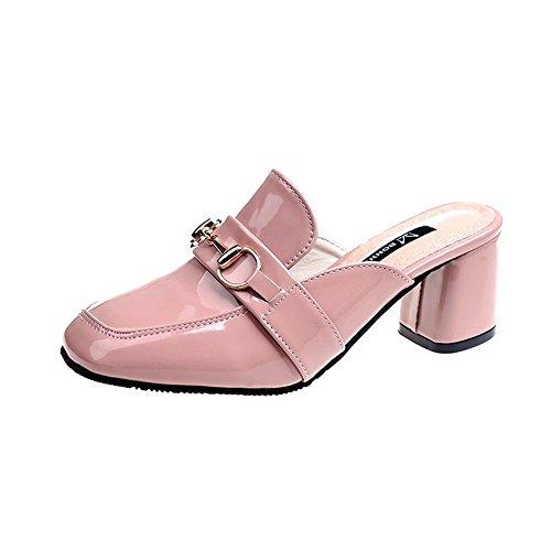 (Women's Open Toe Mid Chunky Heel Pump(Pink 38/7.5 B(M) US Women) )