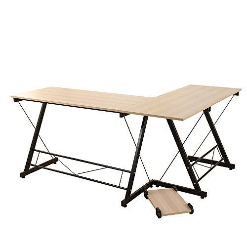 Soges L-Shaped Desk 62 Computer Desk Computer Table Workstation, White Oak WK-0035-F