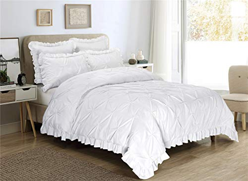 HIG 5 Piece Comforter Set Queen-White Color Microfiber Pinch Pleat Scallop Fringe -Hania Bedding Collection Queen Size-Soft, Hypoallergenic,Fade Resistant-1 Comforter,2 Standard Shams,2 Euro Shams