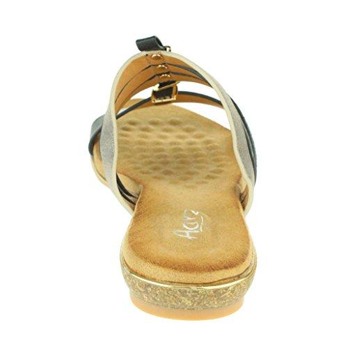 Mujer Señoras Maravilloso T-Bar playa Fijación de la hebilla Punta abierta Verano Casual Comodidad Plano Sandalias Zapatos Tamaño Negro