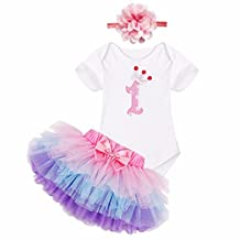 iEFiEL Baby Girls 1st Birthday Onesie Tutu Skirt Flower Headband Outfits Purple 3-6 Months