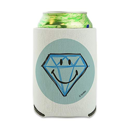 Smiley Smile Diamond Engagement Face Can Cooler - Drink Sleeve Hugger Collapsible Insulator - Beverage Insulated Holder ()