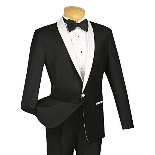(VINCI Men's One Button Slim-Fit Formal Tuxedo Suit w/Contrast Satin Shawl Lapel White/Black | Size: 46 Regular / 40 Waist)