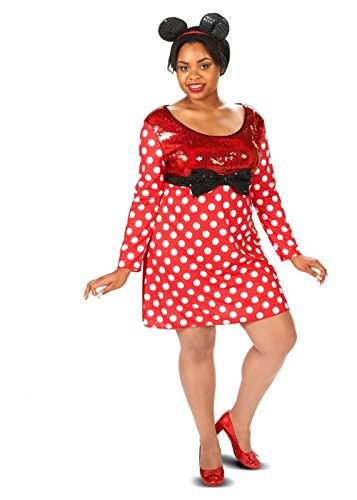 Minnie And Mickey Mouse Costumes For Couples - Womens Plus Polka Dotted Minnie Mouse Costume