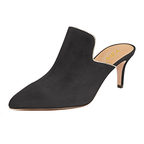 YDN Women Pointed Toe Stilettos Loafers Low Heel Mules Slip on Slippers Casual Shoes Black Suede