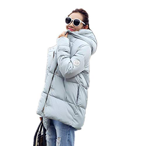 Hooded Zipper Transitional Coat Coat Buttons with Long Coats Casual Winter Coat Long Hellblau Sleeve Down Cozy Autumn Pingrog Thermal Women's Elegant xSwFq