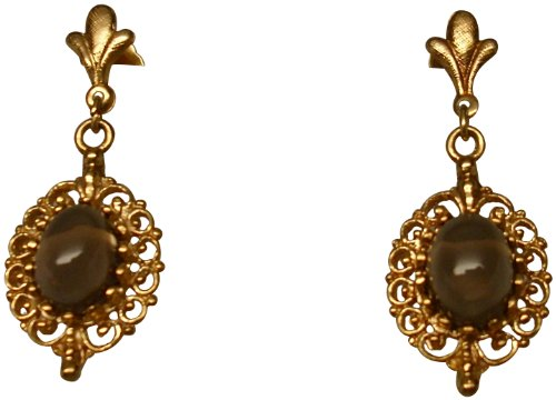 (Smokey Quarts Earrings in Gold)