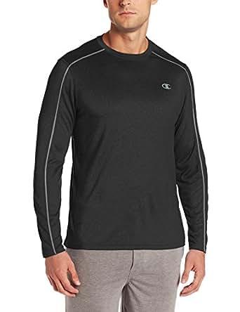 Champion Men's Powertrain Heather Long Sleeve T-shirt, Black Heather, Small