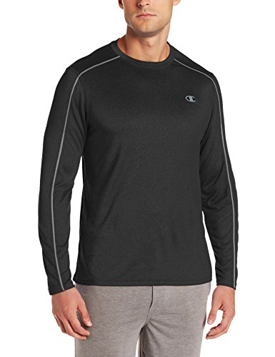 Champion Men's Powertrain Heather Long Sleeve T-shirt, Black Heather, X-Large