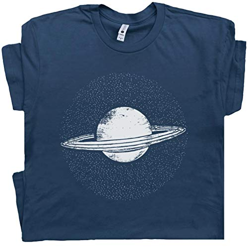 (S - Planet Saturn T Shirt Rings Outter Space Solar System Shirts Pluto Halleys Comet Tshirt Jupiter Mars Graphic Tee Blue)