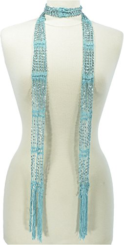 Hand By Hand Aprileo Women's Scarf Seed Bead Long Thin Lightweight Belt Wrap [Mint](One Size)