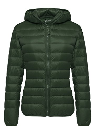 - Wantdo Women's Hooded Packable Ultra Light Weight Short Down Jacket(Dark Green, 3XL)