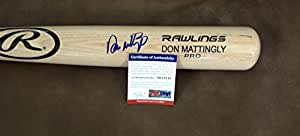 DON MATTINGLY NEW YORK YANKEES SIGNED RAWLINGS ENGRAVED BLONDE BAT PSA AB15813