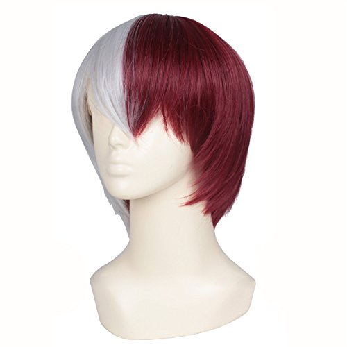 ColorGround Half Silver White Half Red Cosplay Wig for Halloween (Red And White Wigs)