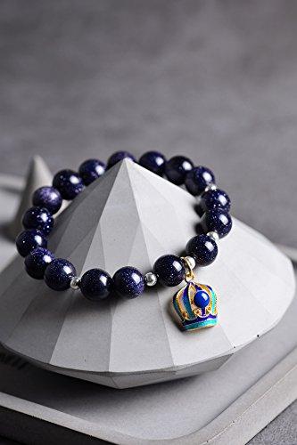 g silver bracelet women girls lady original cloisonne enamel small crown pendant natural crystal bracelets Blue gravel ()