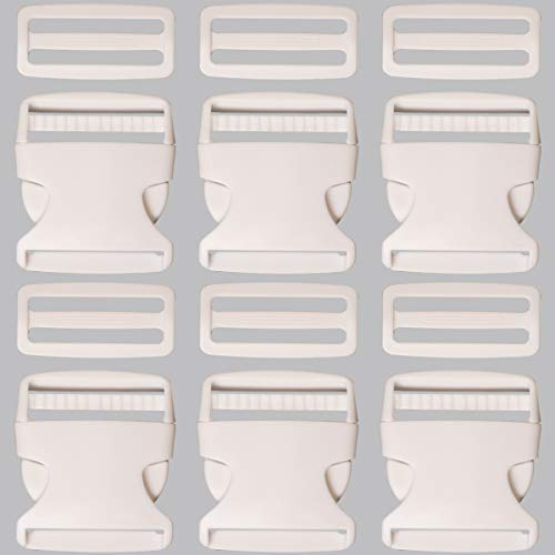 Plastic Buckle 1 1/2 Inch | Single Adjust Side Quick Release Replacement Clips with Slides for Dog Collars, Webbing Strap and Backpack Repair | White, 6 - Single Webbing