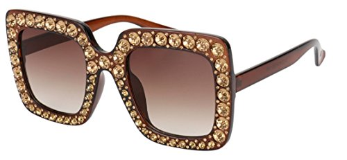 My Shades - Designer Inspired Oversize Square Frame Transparent Sunglasses Jewel Toned Colors Embellishments (Brown Dark, - Sunglasses French Brands