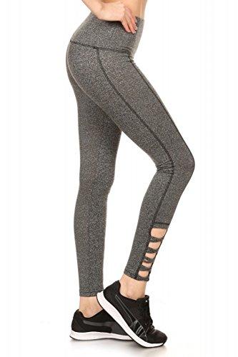 ShoSho Womens Basic Soft Leggings Criss Cross Pants Wrap Around Yoga Bottoms Criss Cross Trim Dark Heather Grey Large