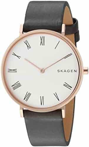 2752da958 Skagen Women's Slim Hald Stainless Steel Analog-Quartz Watch with Leather  Calfskin Strap, Grey