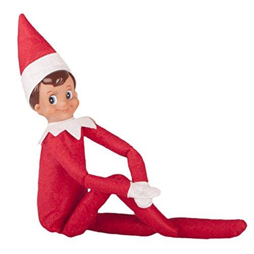 Plushkids Christmas Birthday Novelty Elf Plush Dolls On The Toys Shelf Red Boy