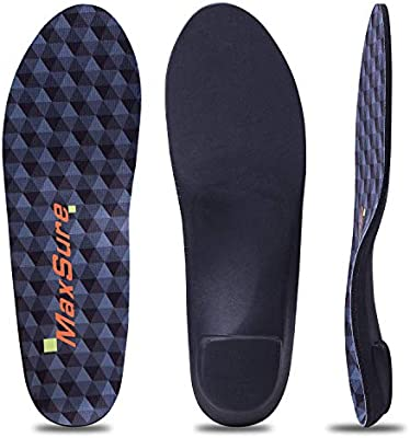 1f308656c0 Orthotic Inserts with High Arch Support, Extra Shock Absorption and  Cushioning for Plantar Fasciitis and Flat Feet Heel Pain Relief and  Treatment, for Men ...