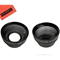 43mm 2.2X Telephoto Lens + 43mm 0.43x Wide Angle Lens with Macro for Canon Vixia HF R80, HF R82, HF R800, HF R70, HF R72, HF R700, HF R30, HF R32, HFM40, HFM41, HFM50, HFM52, HFM400, HFM500 Camcorder