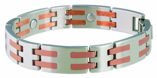 (Sabona Stainless/Copper Bar Magnetic Bracelet - Large)