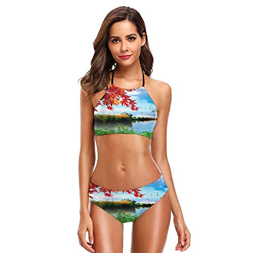 (Women Halter Collage of Underwater Coral Reef and sea Surface with Green Islands on The Background S Bright Colors)