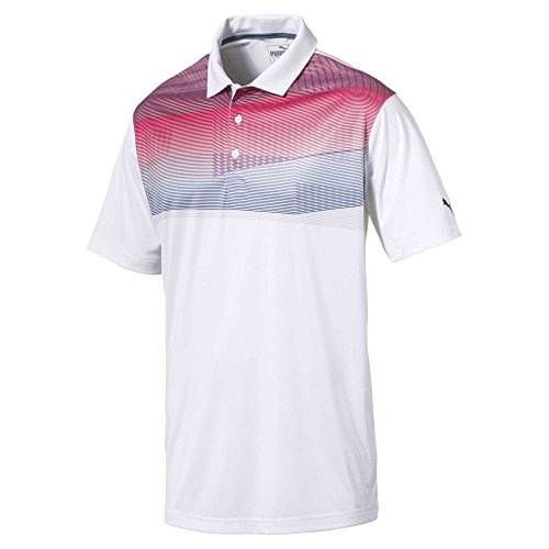 Puma Golf Men's 2018 PWR Cool Refraction Polo, Large, Pomegranate
