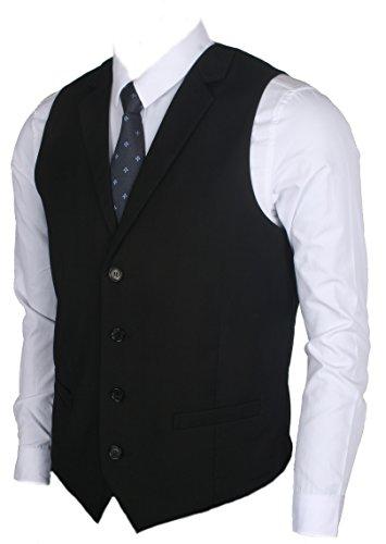 Ruth&Boaz Men's 2Pockets 4Buttons Business Tailored Collar Suit Vest (XL, Black) - Waistcoat Black