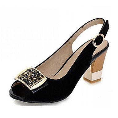 LvYuan Mujer-Tacón Robusto-Zapatos del club-Sandalias-Oficina y Trabajo Vestido Informal-Vellón-Negro Rojo Black