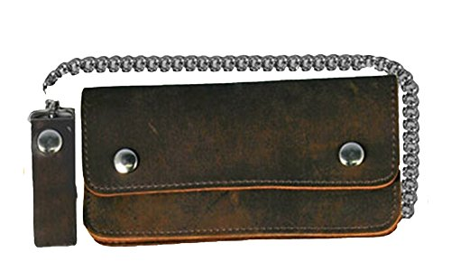 "Leather Biker Billfold Chain 8"" Wallet Distressed Brown"