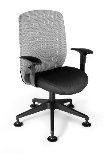 OFM Vision Executive Guest Chair - Mesh Back Conference Chair, Light Gray (Mesh High Back Lounge Chair)
