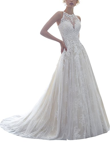 Halter Lace Sleeveless Sheer Back Long A Line Wedding Dresses For Bride (All Ivory,14) by Now and Forever