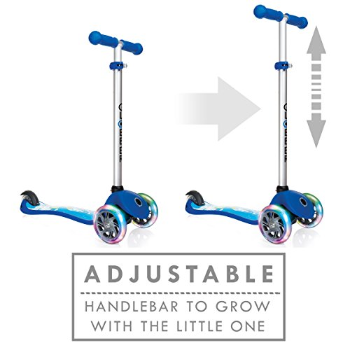 Amazon.com: Globber 3 Wheel Adjustable Height Scooter with LED Light Up Wheels (Blue/Rocket Ship): Toys & Games