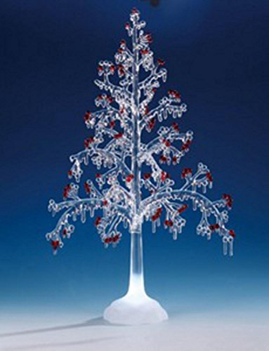 - Pack of 2 ICY Crystal Illuminated Christmas Red Berry Tree Figures 20