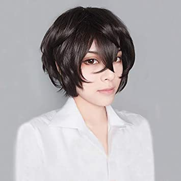 HAMISS Anime Bungo Stray Dogs Dazai Osamu Short Brown Curly Hair Heat Resistant Cosplay Costume Wig Track Cap